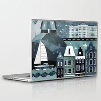 travel poster Laptop & iPad Skins featuring Amsterdam Travel Poster by ClaireIllustrations