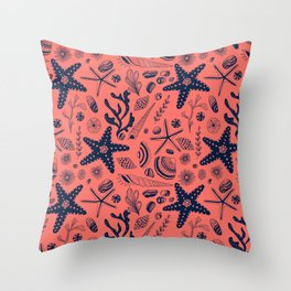 Sea shells on living coral background Throw Pillow
