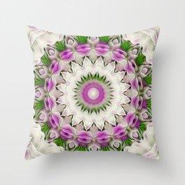 Flower Mandala Sepia Violet Throw Pillow