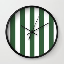 Deep moss green - solid color - white vertical lines pattern Wall Clock