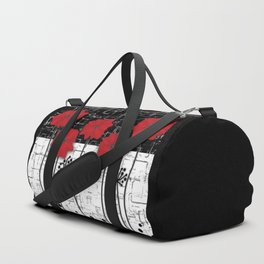 Applique Poppies on black and white background . Duffle Bag