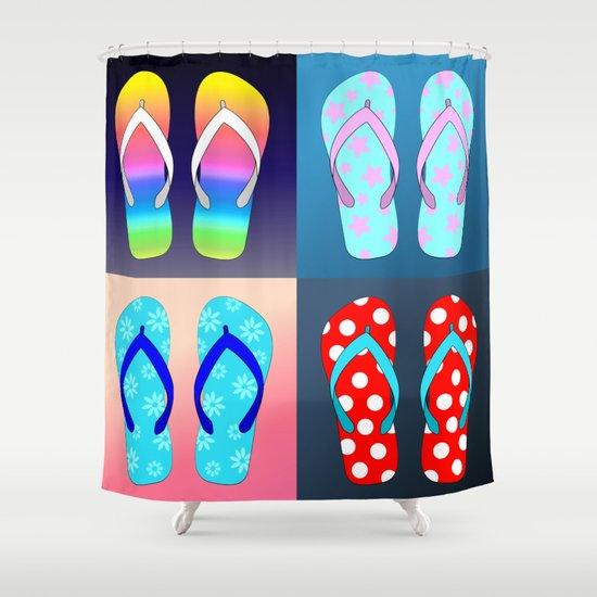Flip Flop Pop Art Shower Curtain By Julie Erin Designs Society6