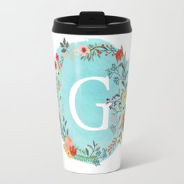 Personalized Monogram Initial Letter G Blue Watercolor Flower Wreath Artwork Travel Mug