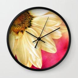 Daisy - Golden on Pink Wall Clock