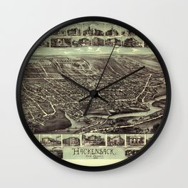 Map Of Hackensack 1896 Wall Clock