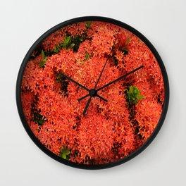 Tropical Orange Flowers Wall Clock