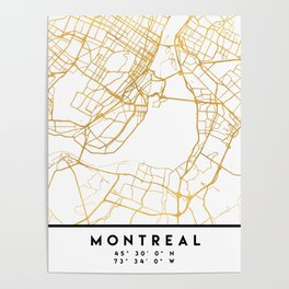 MONTREAL CANADA CITY STREET MAP ART Poster