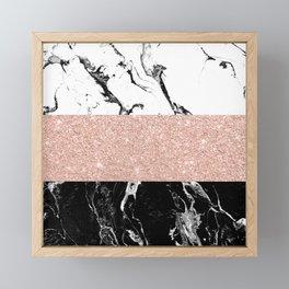 Modern black white marble rose gold color block stripes pattern Framed Mini Art Print