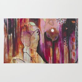 """Kiss"" Original Painting by Flora Bowley Rug"