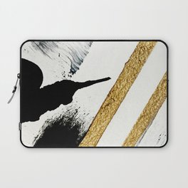 Armor [8]: a minimal abstract piece in black white and gold by Alyssa Hamilton Art Laptop Sleeve