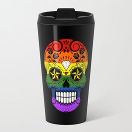 Gay Pride Rainbow Flag Sugar Skull with Roses Travel Mug