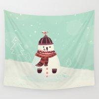 snowman Wall Tapestries featuring Snowman by Villie Karabatzia