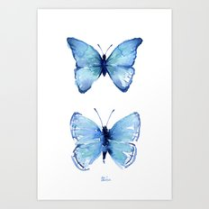 Two Blue Butterflies Watercolor Animals Insects Art Print