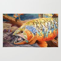 trout Area & Throw Rugs featuring Tiger Trout by GetTAMArt