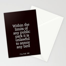 City Ord.  118 Stationery Cards