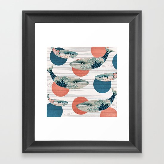 Whales and Polka Dots Framed Art Print