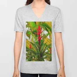 WHITE ABSTRACT GREEN-YELLOW JUNGLE & TROPICAL RED FLOWERS Unisex V-Neck