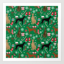 Christmas Greyhound pattern gifts for greyhound rescue dogs must have festive holiday dogs Art Print