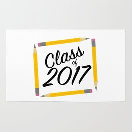 Class of 2017, black font Rug