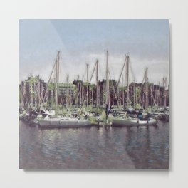 Sailboats In The Harbour II Metal Print
