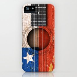 Old Vintage Acoustic Guitar with Chilean Flag iPhone Case