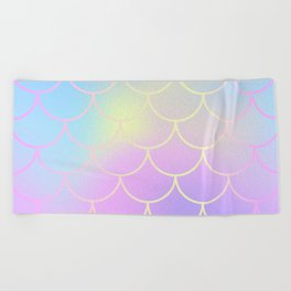 Pink Blue Mermaid Tail Abstraction Beach Towel