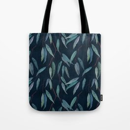 Eucalyptus leaves on indigo blue Tote Bag