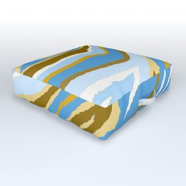 Animal Print Zebra Blue and Tan and Gray Pattern Outdoor Floor Cushion