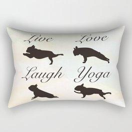Live Love Laugh Yoga! French Bulldog Yoga design Rectangular Pillow