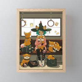 Witch and the magic foxes   Framed Mini Art Print