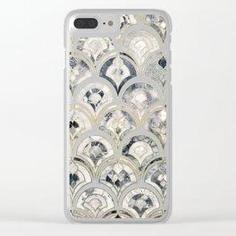 Monochrome Art Deco Marble Tiles Clear iPhone Case