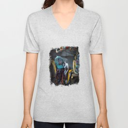 Doberman in Bird Cage Modeling with Nude Painted Mannequins Artistic and Colorful Unisex V-Neck