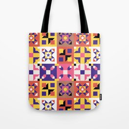 Maroccan tiles pattern with pink and purple no3 Tote Bag