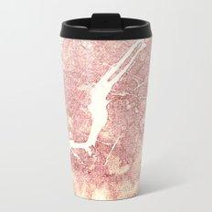 New York Pink Metal Travel Mug