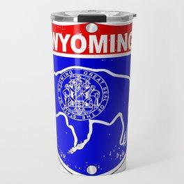 Wyoming Flag Icons As Interstate Sign Travel Mug