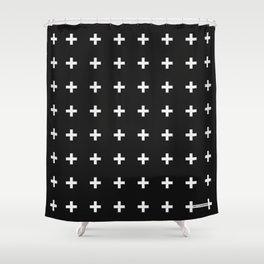 White Plus on Black /// Black n' White Series Shower Curtain
