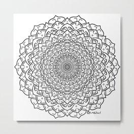 Gem Succulent Mandala C - Black Metal Print