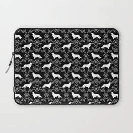 Cavalier King Charles Spaniel silhouette florals black and white dog breed gifts Laptop Sleeve