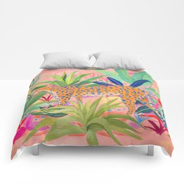 Leopard in Succulent Garden Comforters