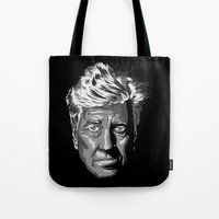 david lynch Tote Bags featuring David Lynch by lego-drama