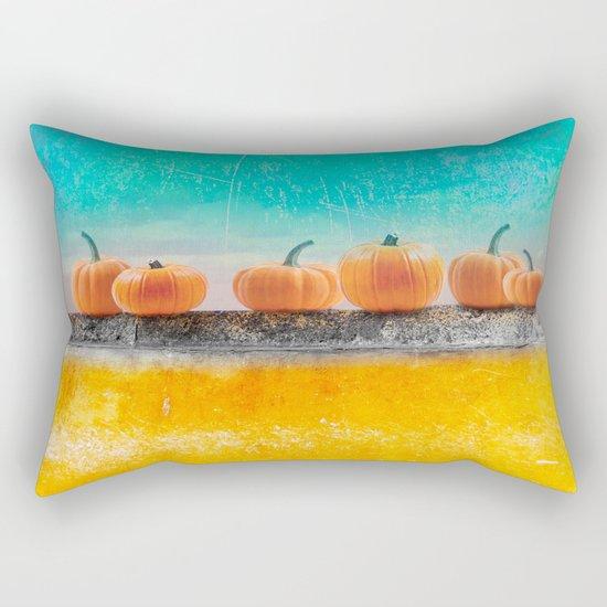 Pumpkins on a Wall Rectangular Pillow