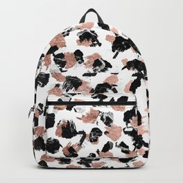 Modern faux rose gold marble brushstrokes dots pattern Backpack