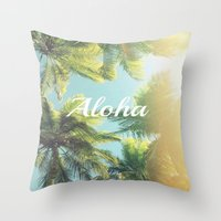 "aloha Throw Pillows featuring AloHa by ""CVogiatzi."
