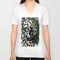 leather V-neck T-shirts featuring Skull by Ali GULEC