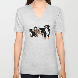 Family of Bernese Mountain Dogs with Wooden Wagon Unisex V-Neck
