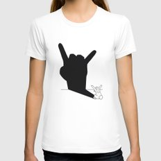 Rabbit Rock and Roll Hand Shadow Womens Fitted Tee LARGE White