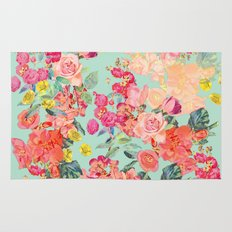 Antique Floral Print in Coral and Mint Tones Rug