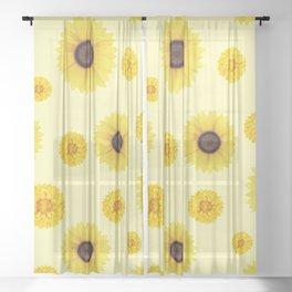 Autumn pattern of sunflowers Sheer Curtain