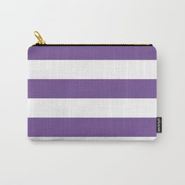 Horizontal Stripes - White and Dark Lavender Violet Carry-All Pouch