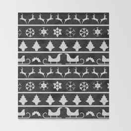 Black & White Ugly Sweater Nordic Knit Throw Blanket